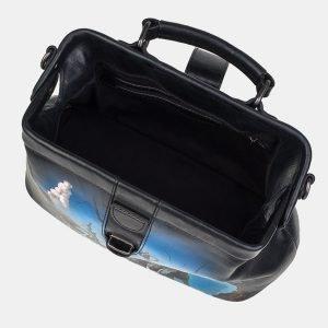 Вместительная черная сумка с росписью ATS-3239 213158