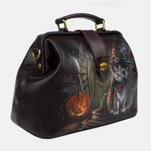 Функциональная коричневая сумка с росписью ATS-3243 213136