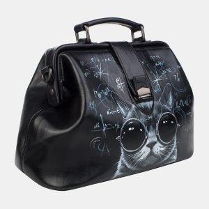 Модная черная сумка с росписью ATS-3242 213141