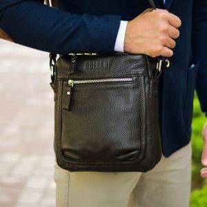 Функциональная коричневая мужская сумка через плечо BRL-19855