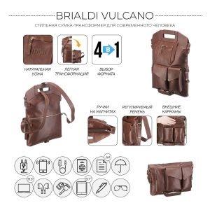 Функциональная темно-оранжевая мужская сумка трансформер через плечо BRL-28435 222349