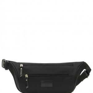 Кожаная черная поясная сумка FBR-2651