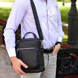 Кожаная черная мужская сумка через плечо BRL-33394 222947