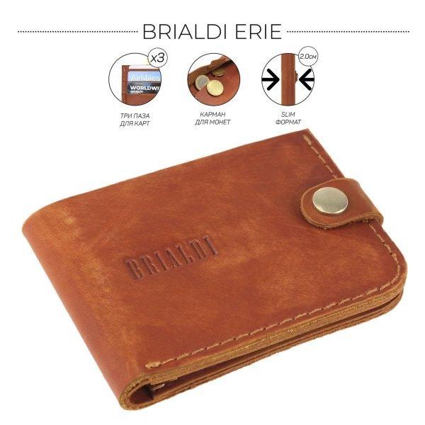 Кожаный темно-оранжевый мужской портмоне клатч BRL-7593