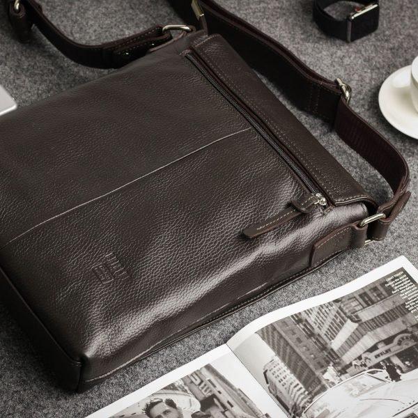 Вместительная коричневая мужская сумка через плечо BRL-11724