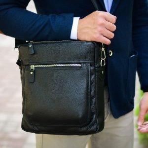 Кожаная черная мужская сумка через плечо BRL-33394 222941