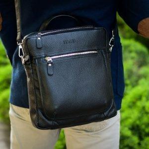 Кожаная черная мужская сумка через плечо BRL-33394 222945