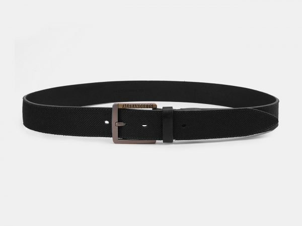 Кожаный черный мужской джинсовый ремень ATS-3940