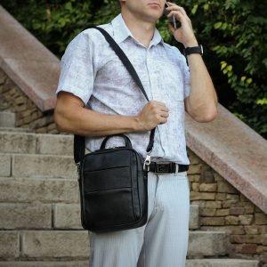 Функциональная черная мужская сумка через плечо BRL-34406 223375