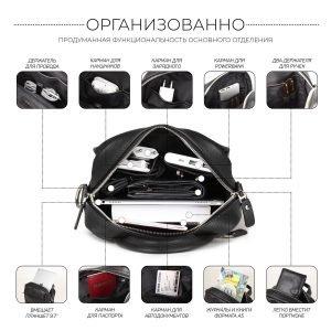 Функциональная черная мужская сумка через плечо BRL-34406 223372