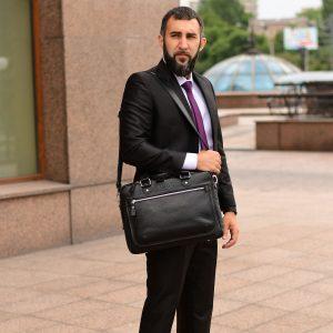 Стильный черный мужской портфель деловой BRL-34102