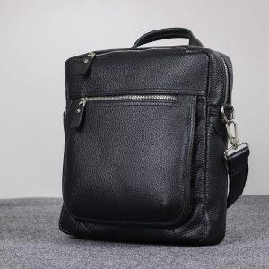 Кожаная черная мужская сумка через плечо BRL-33394 222951