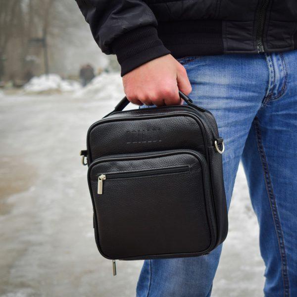 Стильная черная мужская сумка через плечо BRL-12934
