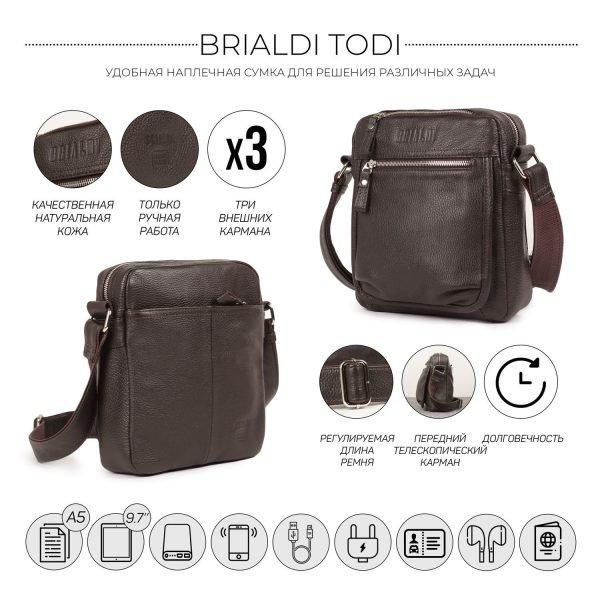 Модная коричневая мужская сумка через плечо BRL-19855