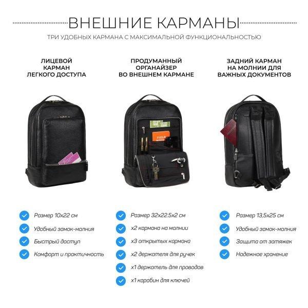 Модный черный мужской деловой рюкзак BRL-45794