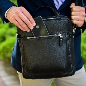 Кожаная черная мужская сумка через плечо BRL-33394 222943