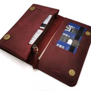 Кожаный красный кошелек BNZ-313