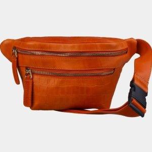 Кожаная оранжевая женская сумка на пояс ATS-3107