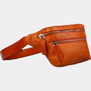 Кожаная оранжевая женская сумка на пояс ATS-3107 213474