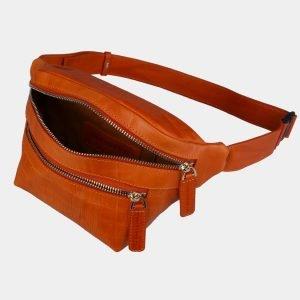 Кожаная оранжевая женская сумка на пояс ATS-3107 213476