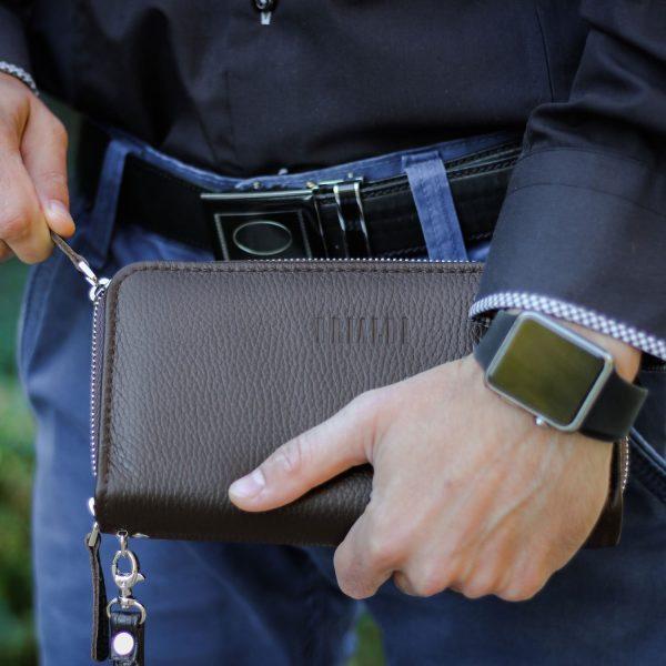 Солидная коричневая мужская сумка для мобильного телефона BRL-19833