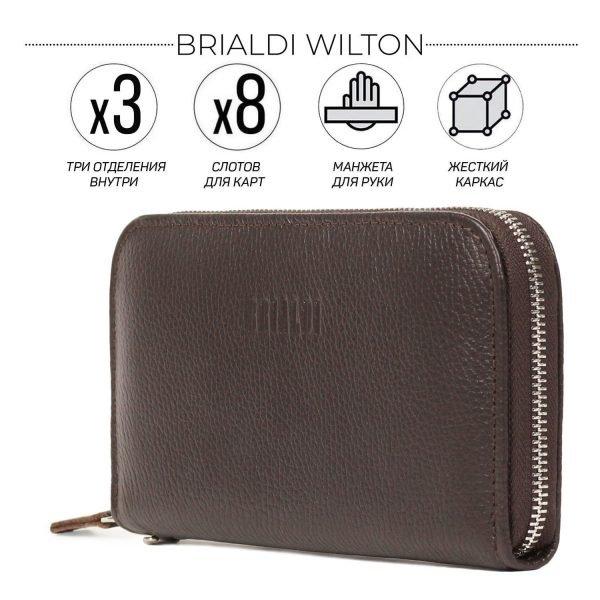 Кожаный коричневый мужской портмоне клатч BRL-43906