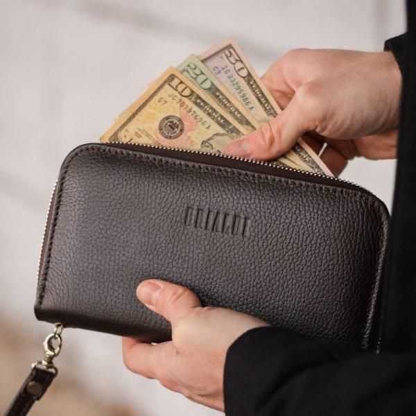 Стильный коричневый мужской портмоне клатч BRL-43906