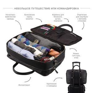 Стильная черная мужская сумка трансформер через плечо BRL-23166 224972