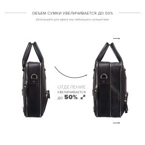 Вместительная черная мужская сумка трансформер через плечо BRL-23166