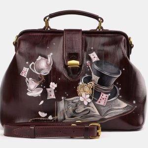 Удобная бордовая сумка с росписью ATS-3933