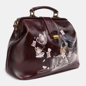 Солидная бордовая сумка с росписью ATS-3933 225045