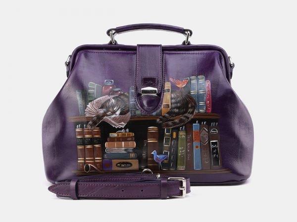 Кожаная фиолетовая сумка с росписью ATS-3962