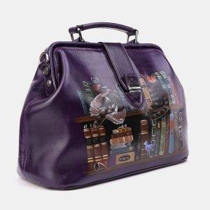 Кожаная фиолетовая сумка с росписью ATS-3962 224747