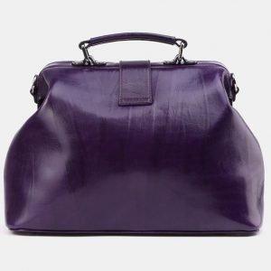 Кожаная фиолетовая сумка с росписью ATS-3962 224748
