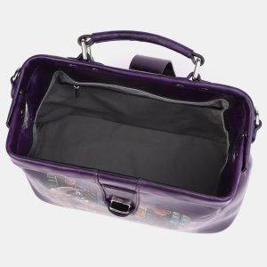 Кожаная фиолетовая сумка с росписью ATS-3962 224749