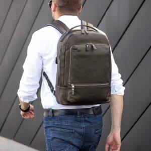 Удобный коричневый мужской деловой рюкзак BRL-45820