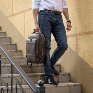 Модный коричневый мужской деловой рюкзак BRL-45820 226896