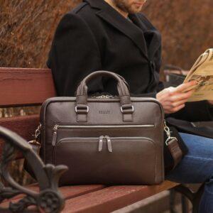 Солидный коричневый мужской портфель деловой BRL-44549 226718