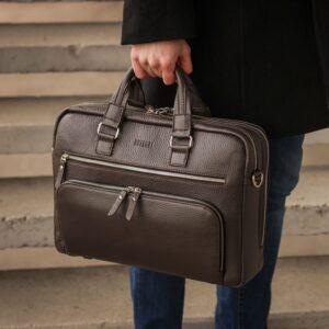 Солидный коричневый мужской портфель деловой BRL-44549 226703