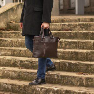 Стильная коричневая мужская классическая сумка BRL-44559 226805