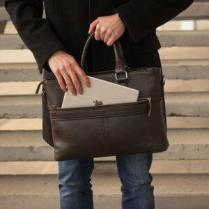 Стильная коричневая мужская классическая сумка BRL-44559 226816
