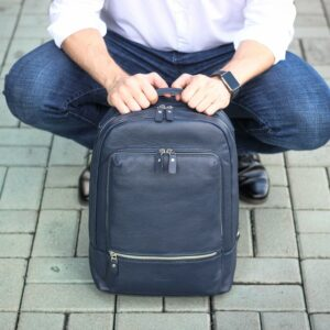 Солидный синий мужской деловой рюкзак BRL-45821 226929