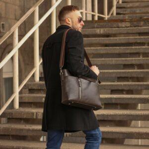 Стильная коричневая мужская классическая сумка BRL-44559 226807