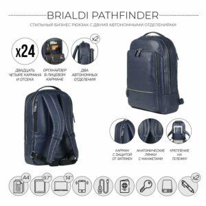 Солидный синий мужской деловой рюкзак BRL-45821 226891