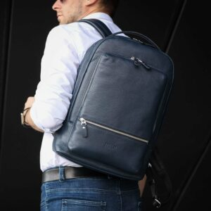 Солидный синий мужской деловой рюкзак BRL-45821 226905
