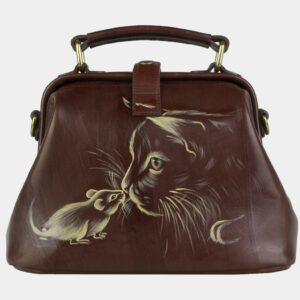 Кожаная светло-коричневая сумка с росписью ATS-2105