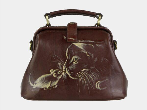 Вместительная светло-коричневая сумка с росписью ATS-2105