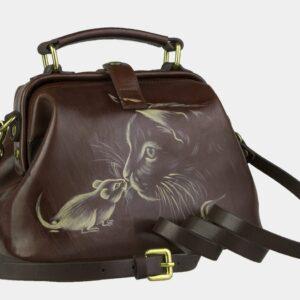 Вместительная светло-коричневая сумка с росписью ATS-2105 226415