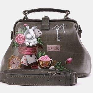 Стильная серая сумка с росписью ATS-3968