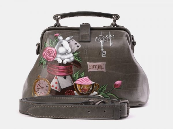 Модная серая сумка с росписью ATS-3968